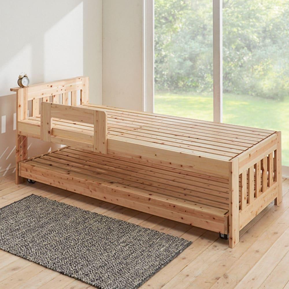 ひのきが香る天然木 親子すのこベッド 下段ベッド 使用イメージ ※お届けは下段ベッド・フレームのみです。