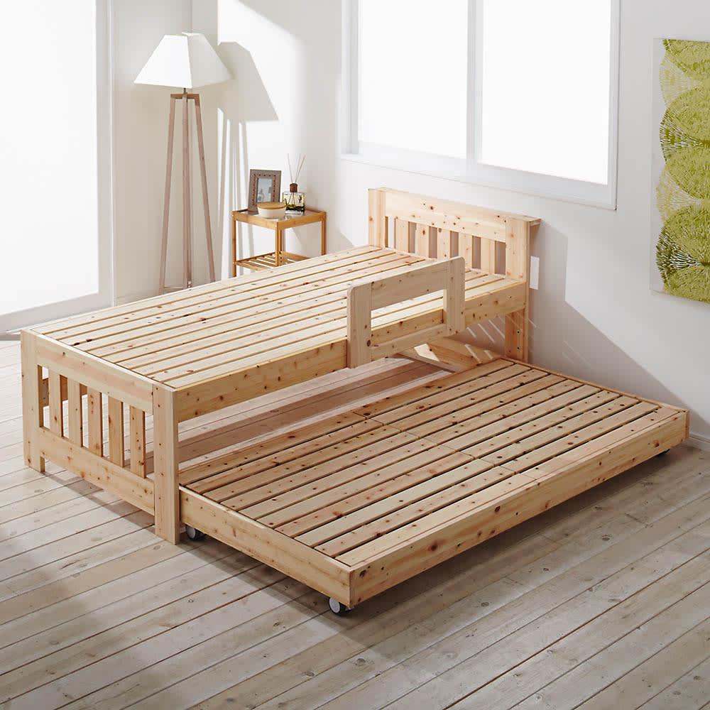 ひのきが香る天然木 親子すのこベッド 下段ベッド 使用イメージ ※お届けは(写真右)下段ベッド・フレームのみです。