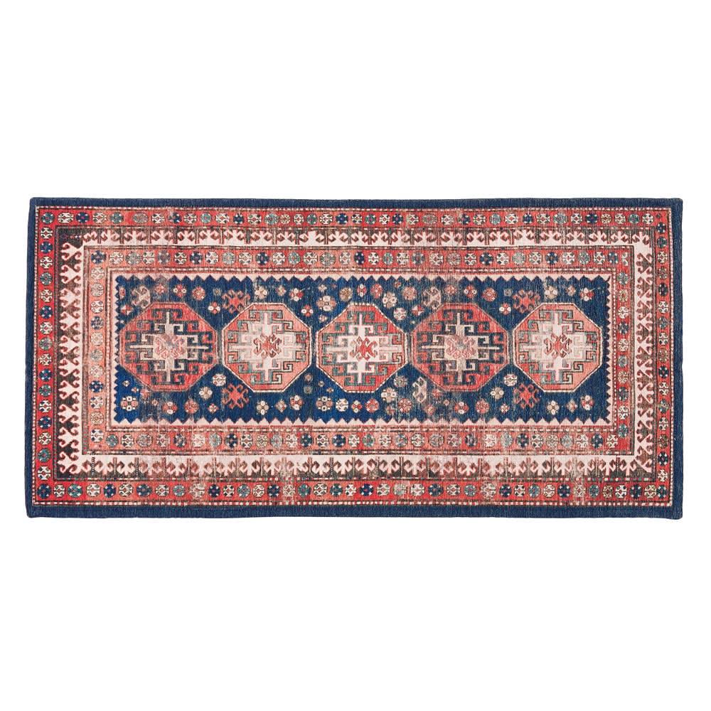 イタリア製ペルシャ絨毯風ヴィンテージプリントラグ〈オリエンテ〉 ブルー