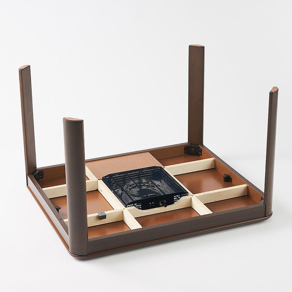 【長方形】組立不要 和モダンこたつセット 本体90×75cm+和座椅子(2脚)+布団+サロン5点セット