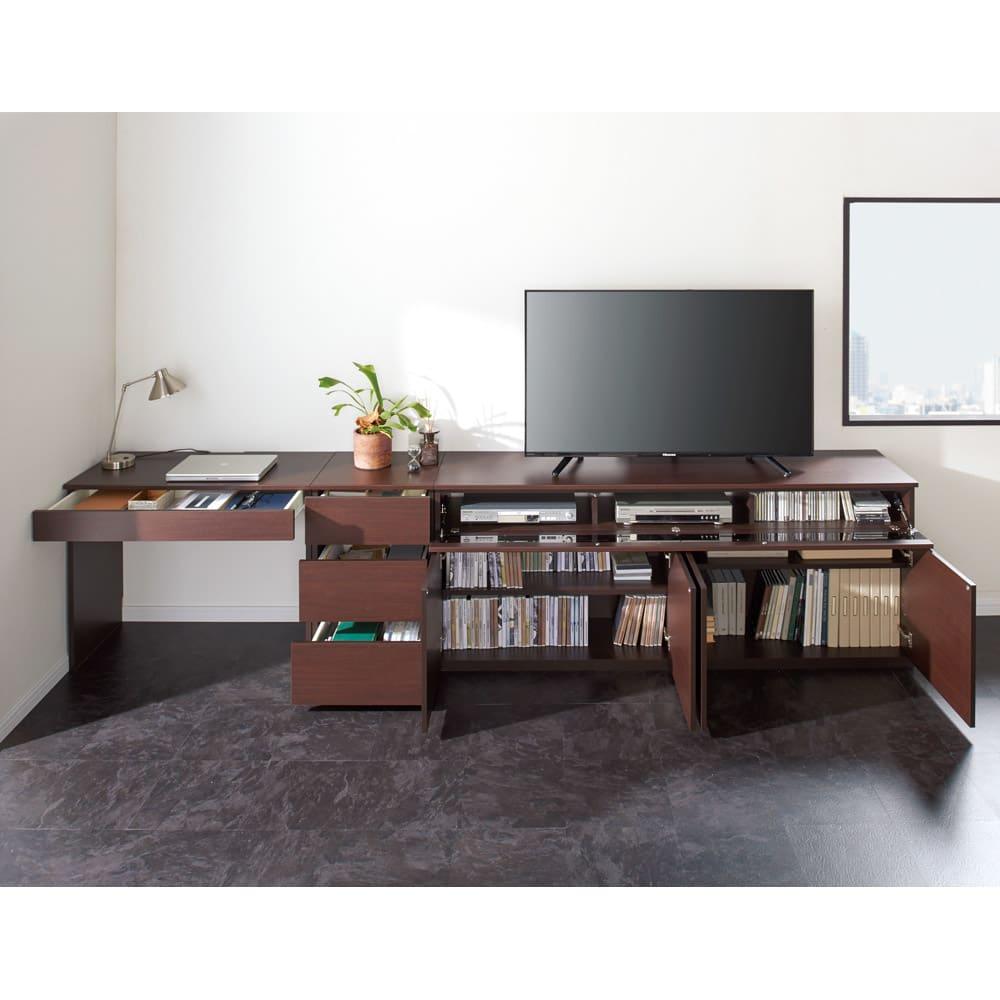 ラインスタイルハイタイプテレビ台シリーズ チェスト・幅45cm コーディネート例(ア)ダークブラウン