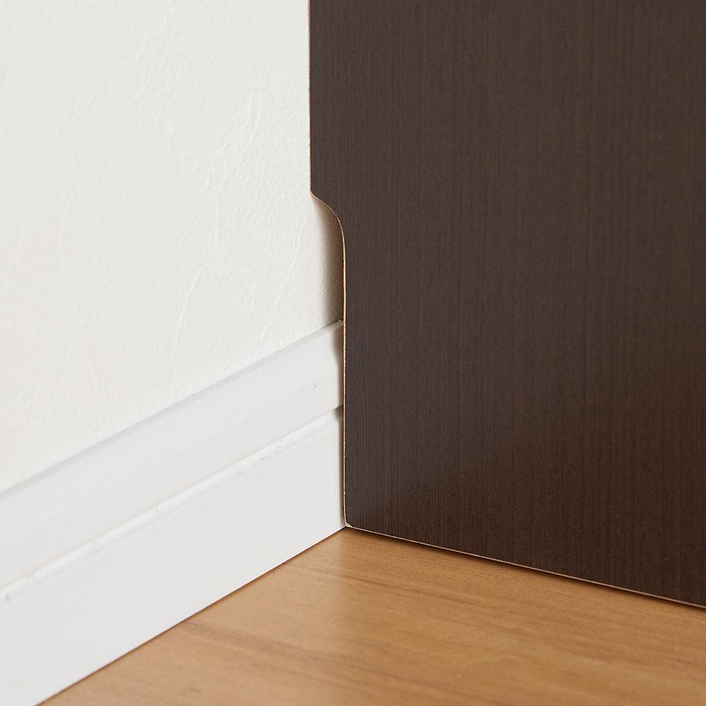ラインスタイルハイタイプテレビ台シリーズ デスク・幅75cm 壁面にぴったりと置ける幅木対応仕様(9×1cm)