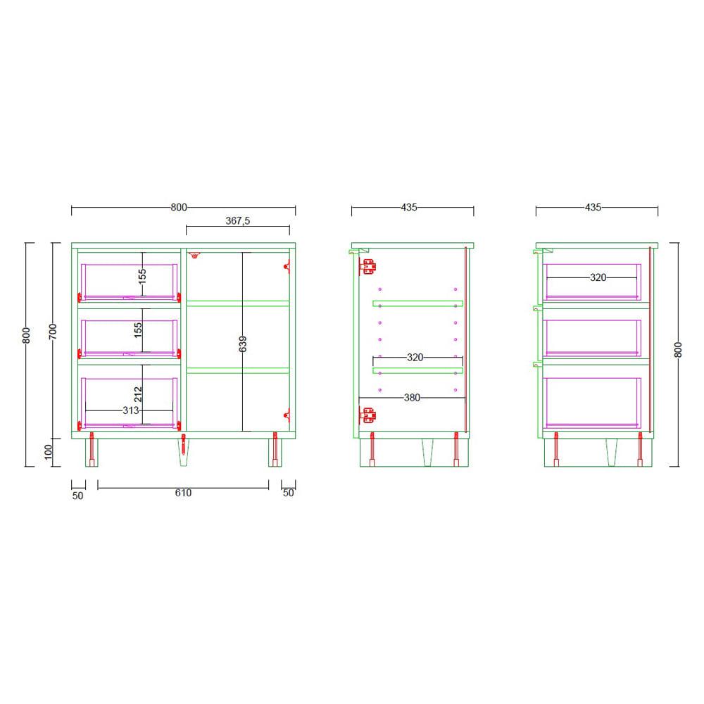 ウォルナット木目テレビ台シリーズ キャビネット左引き出し3杯 幅80高さ80cm 内寸図