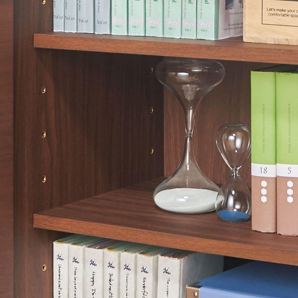 ウォルナット木目テレビ台シリーズ キャビネット左引き出し3杯 幅80高さ80cm 可動棚板は6cm間隔で調節可能。