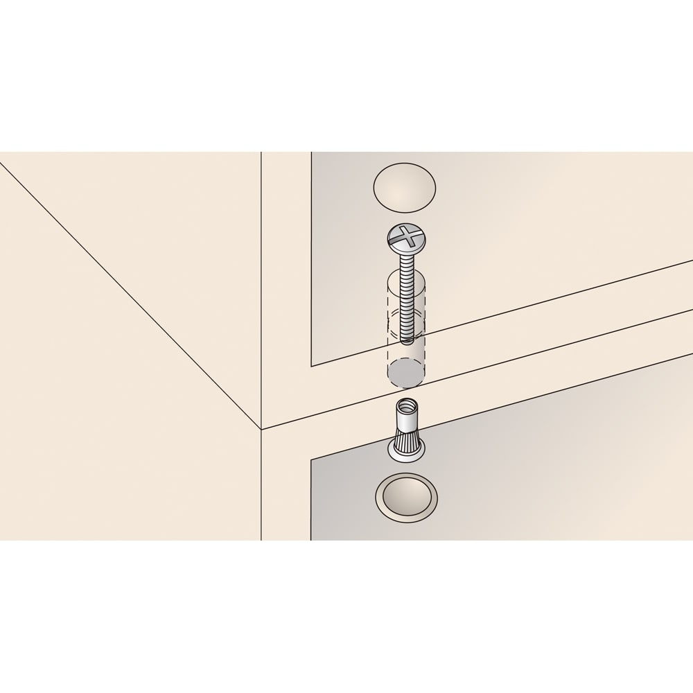 あこがれの書斎スペースを現実にする壁面収納 デスク 右引き出し すき間なく連結 本体同士の横連結、本体と上置きの上下連結は、ジョイントネジですき間なく固定。