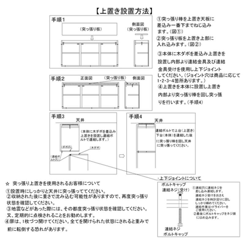あこがれの書斎スペースを現実にする壁面収納 オーダー対応突っ張り式上置き(1cm単位) 幅78cm・高さ26~90cm 上置きの設置方法