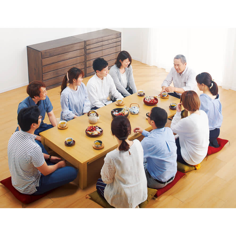 天然木折れ脚伸長式テーブル 幅120cm 最大時 ※写真は幅150cmタイプです。