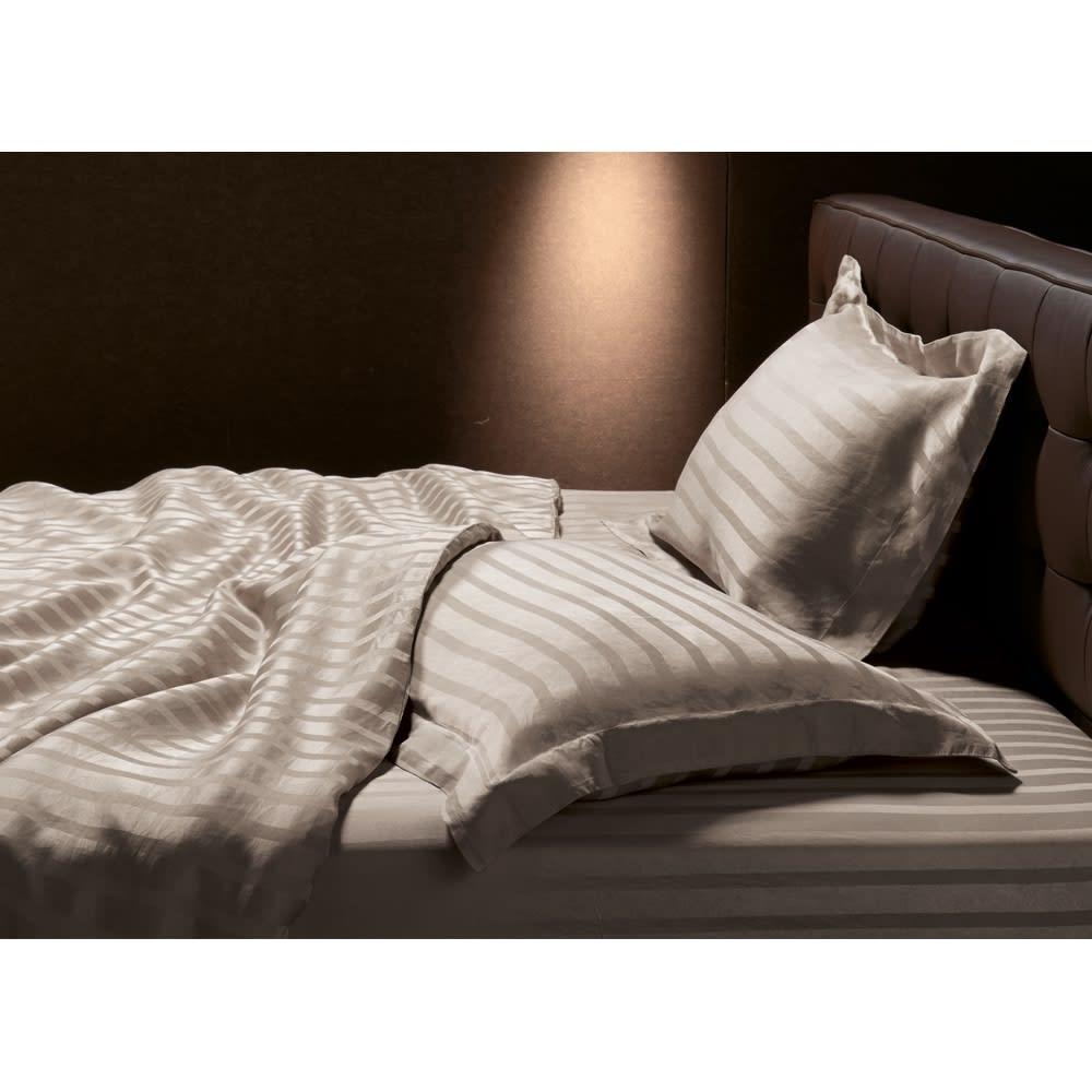 ダブル(オールシルクシリーズ サテン織りシーツ&カバー グレージュ ベッドシーツ) 701133