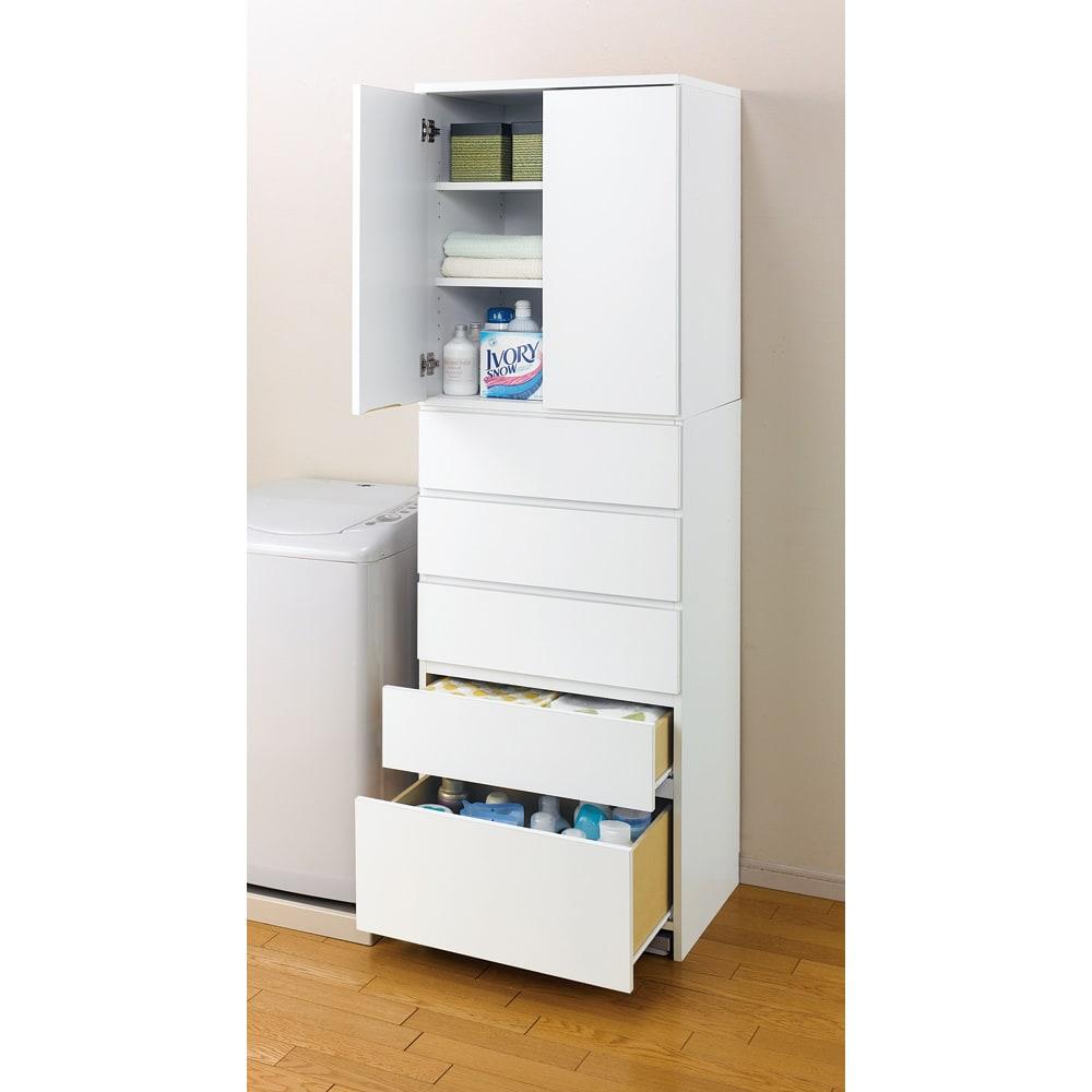 幅・奥行が選べるサニタリーチェスト 幅80・奥行45cm 洗面所、脱衣所まわりの収納におすすめの収納力です。 ※写真は幅60奥行45cmタイプです。