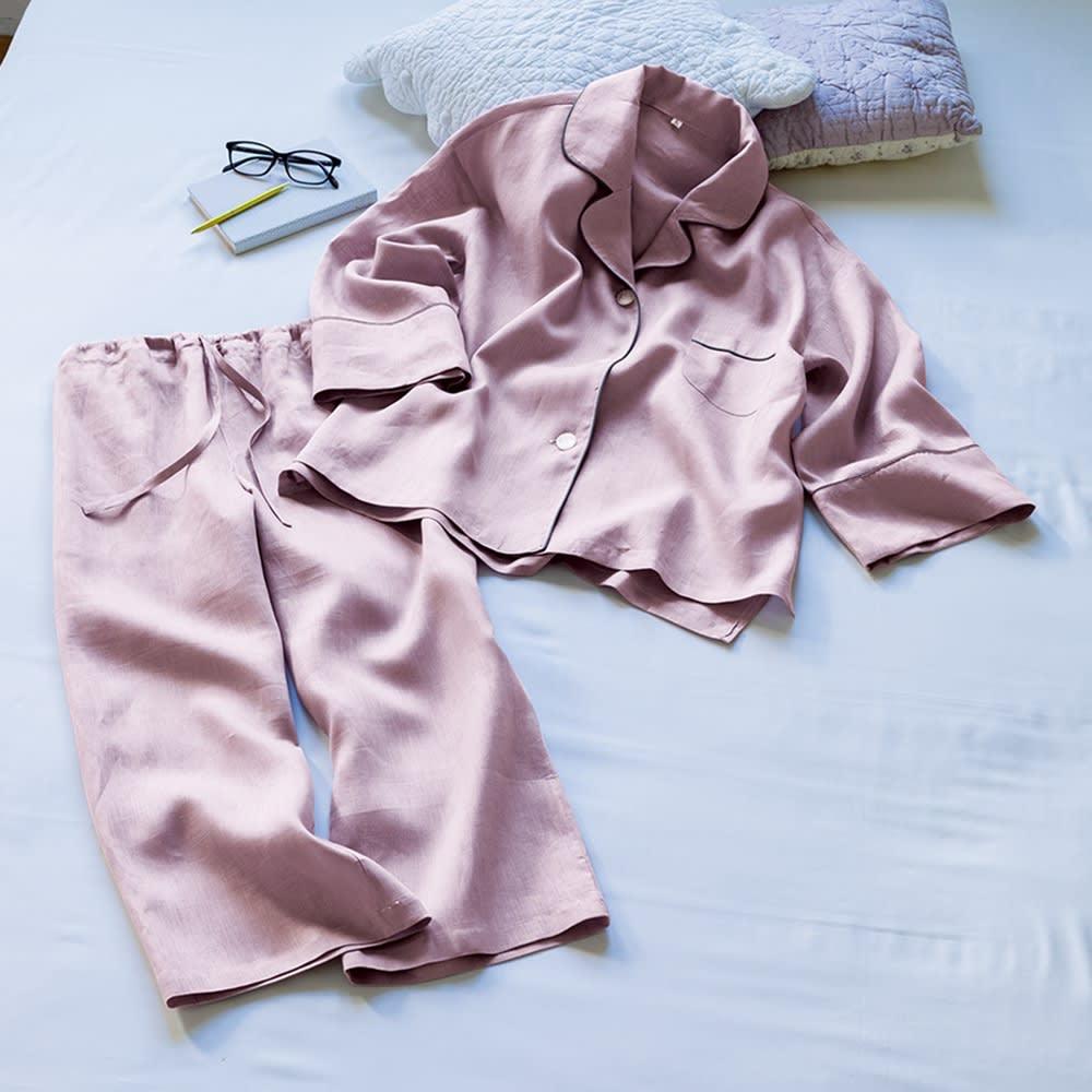 フレンチリネンのパジャマ  (ア)グレイッシュピンク