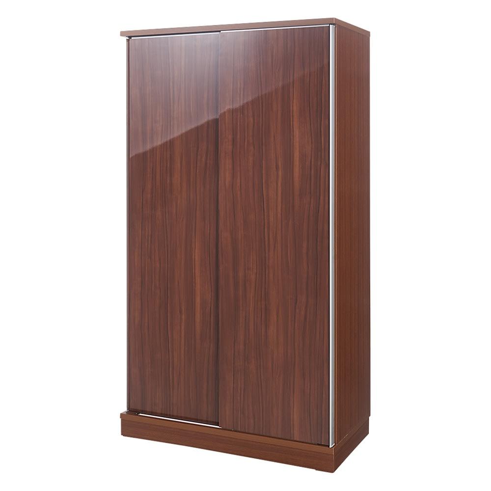 大型パントリーシリーズ スライド収納庫 板扉 幅100cm (イ)ダークブラウン 前面は木目調の光沢仕上げ。