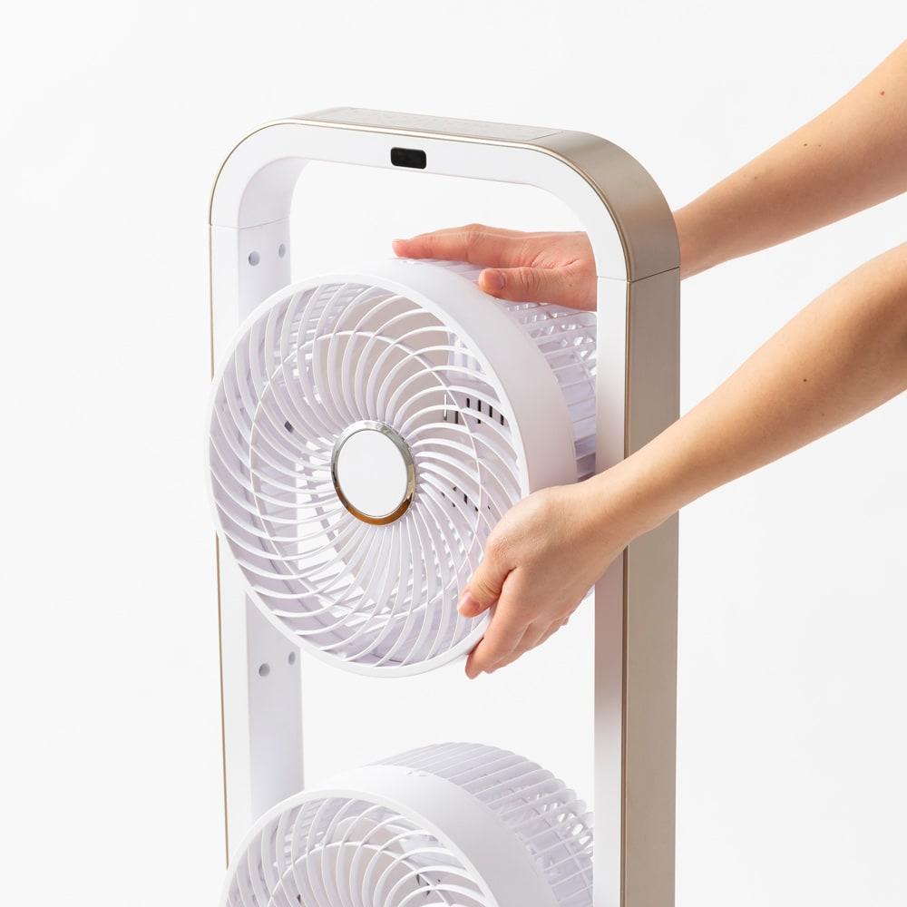 自動首振り機能付き 3連マルチファン 最上段のファンが180度回転できるようになり、より便利になりました。