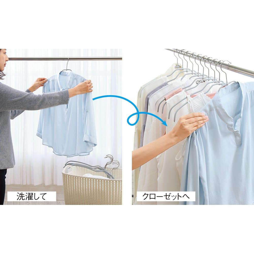 MAWA/マワ 洗濯ハンガー 人体スリムハンガー 物干し竿からクローゼットへ直行!洗濯はもちろん、収納ハンガーとしても活躍。いちいち掛け替える必要がなく、時間も収納スペースも有効に!