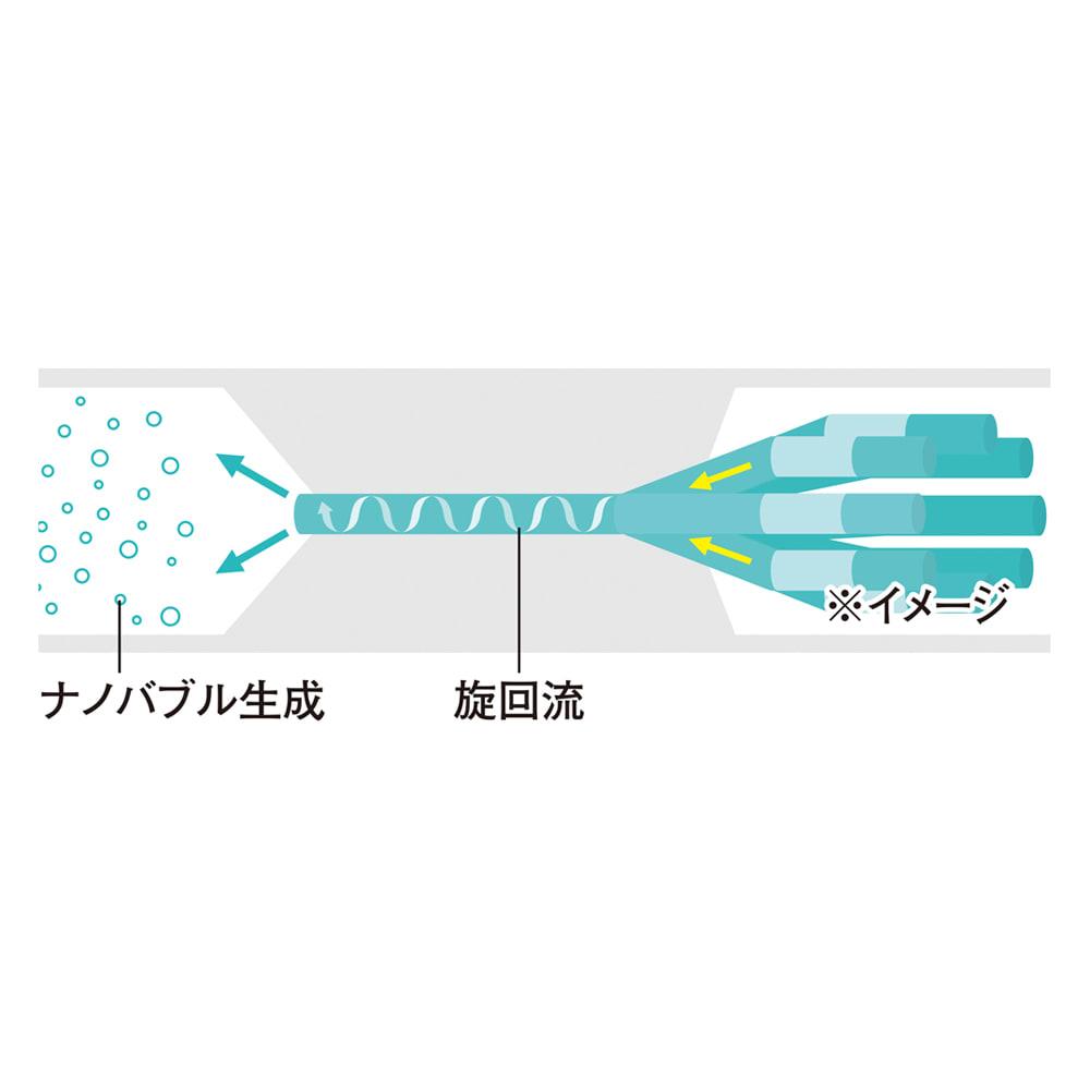 ナノバブルアダプター洗濯機用 アダプターに水が送り込まれ、圧力がかかることで水中にナノバブルが発生。通常の泡が2mm程度なのに対し、ナノバブルは約2万分の1の小ささ!