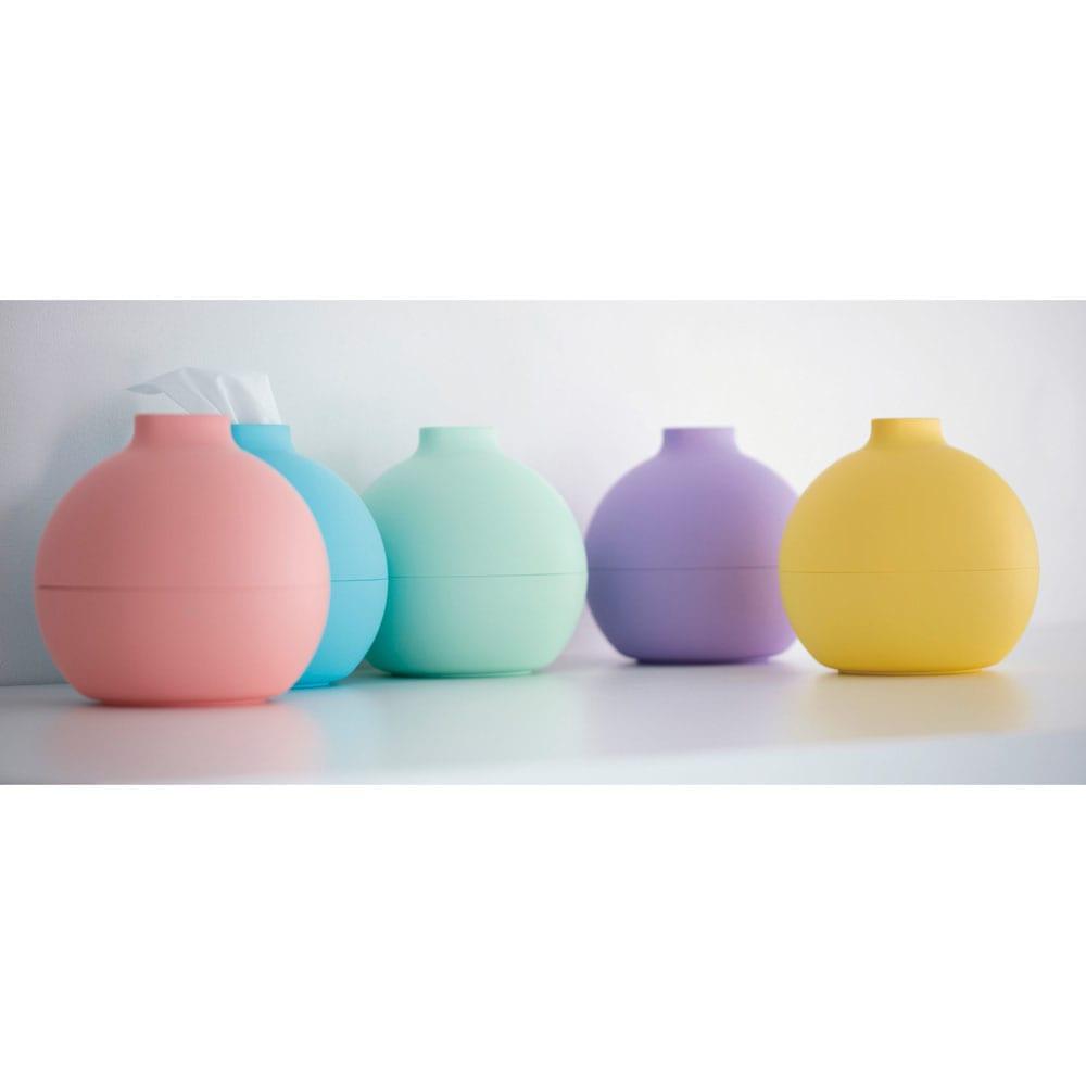 ペーパーPot(ポット) ティッシュケース 色が選べる2個組 全31色 左から(セ)マットサーモンオレンジ (シ)マットスカイブルー (サ)マットミントグリーン (コ)マットラベンダー (ス)マットレモンイエロー