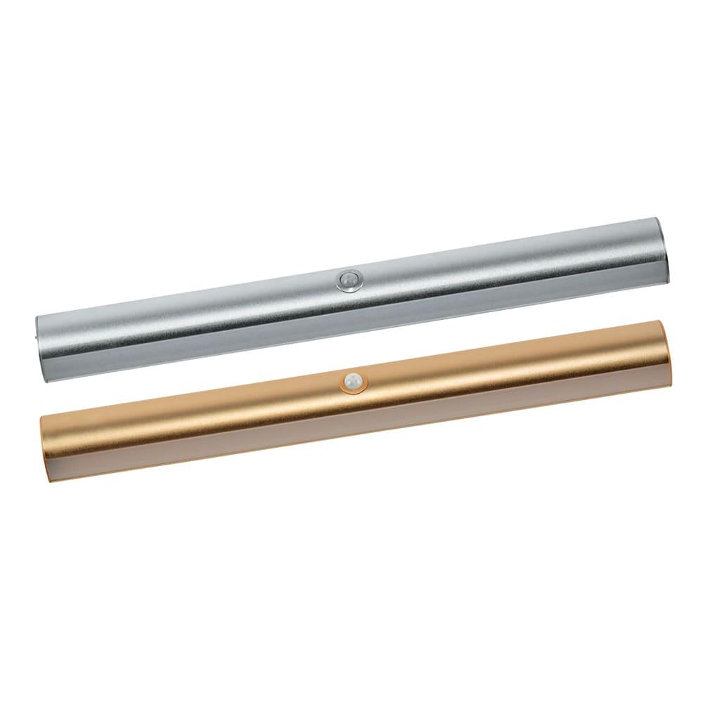 人感センサー足元LEDライト お得な2個 (ウ)シルバー・シャンパンゴールド各1