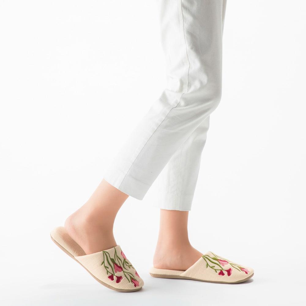 シビラ スリッパ 色柄が選べる2足組 内寸約24cm トロンペータス=(コ)ベージュ