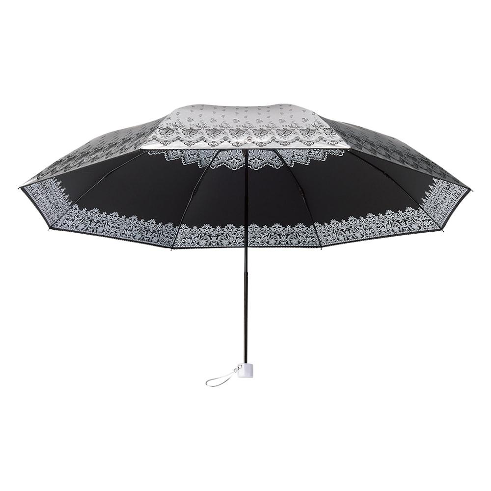 晴雨兼用折りたたみ日傘 (ウ)ブラック 裏側はサックスブルー、ピンク、ブラックの3色。外側は全色ともシルバーです。