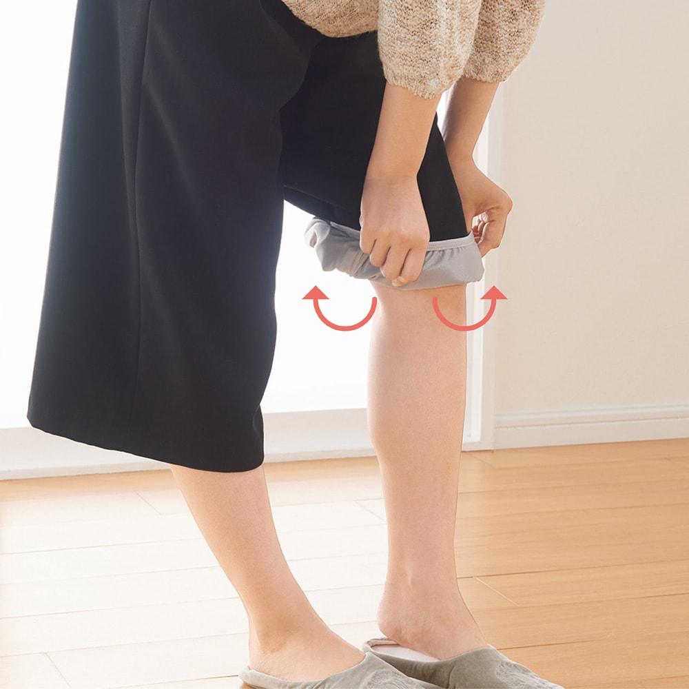トイレで便利なペチキュロット 通常タイプ 1枚 ワイドパンツ、ガウチョの下に履き、キュロットの裾を外に出しながらパンツの裾を中に入れます。