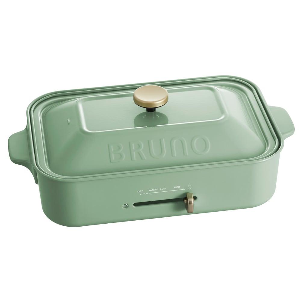 BRUNO/ブルーノ コンパクトホットプレート 本体単品+深型鍋+グリルプレートセット ディノス特典付き (オ)スモーキーグリーン
