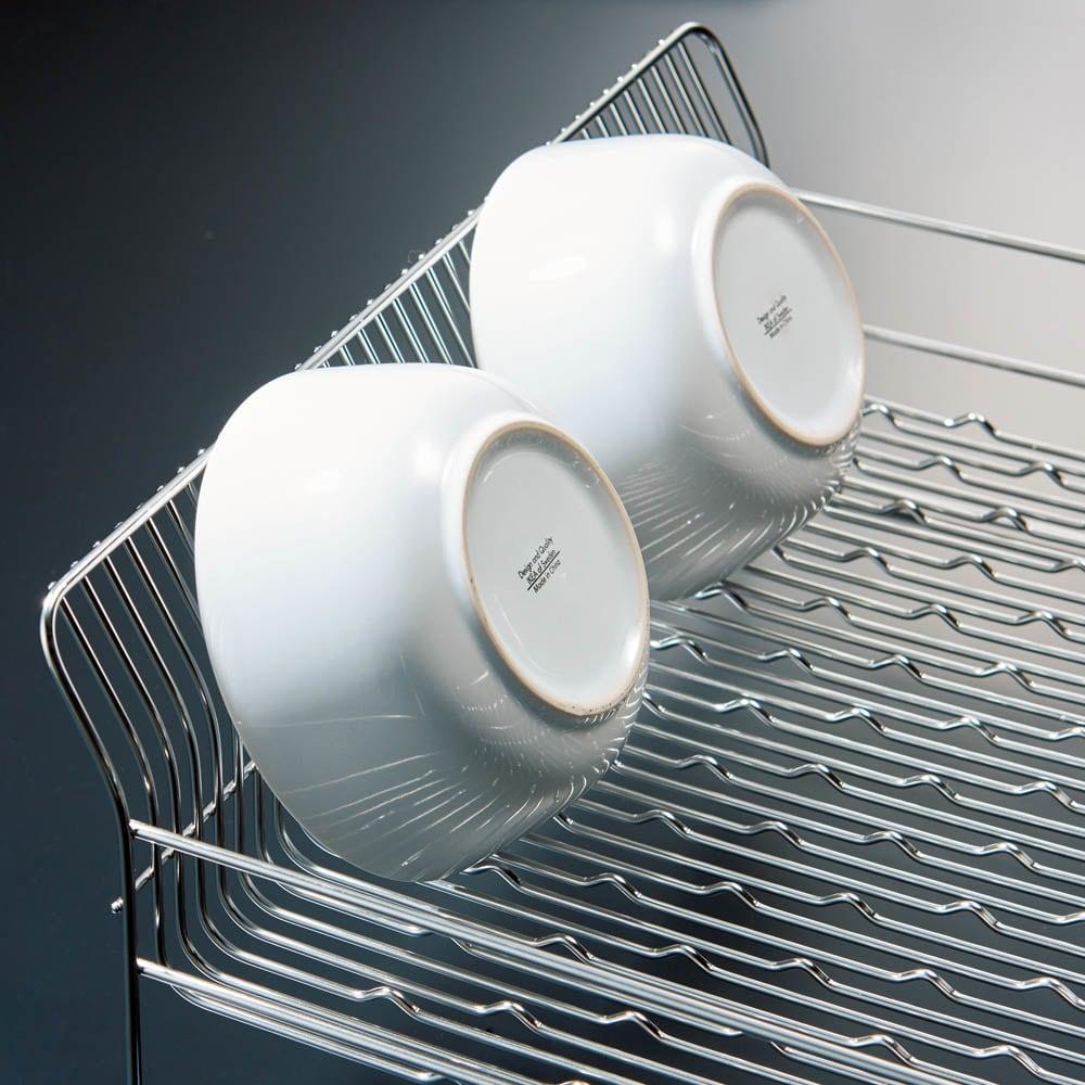 ハナウタ 皿を縦にも横にも置ける水切り これまで伏せるしかなかったお椀や小鉢も、底面の小さな凹凸により立てられるから水切れも◎。