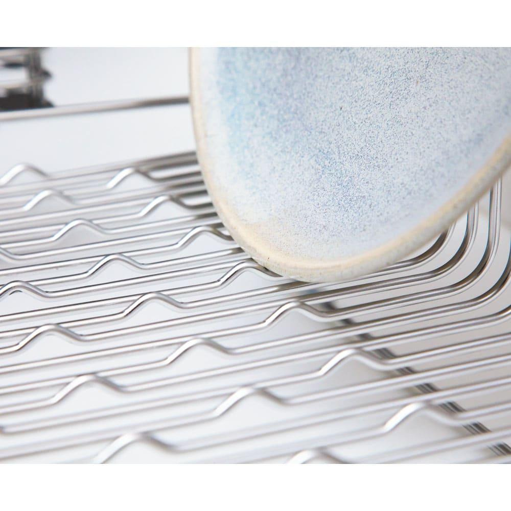 ハナウタ 皿を縦にも横にも置ける水切り 底面の小さな凹凸が皿やお椀をしっかりホールド。PAT・P