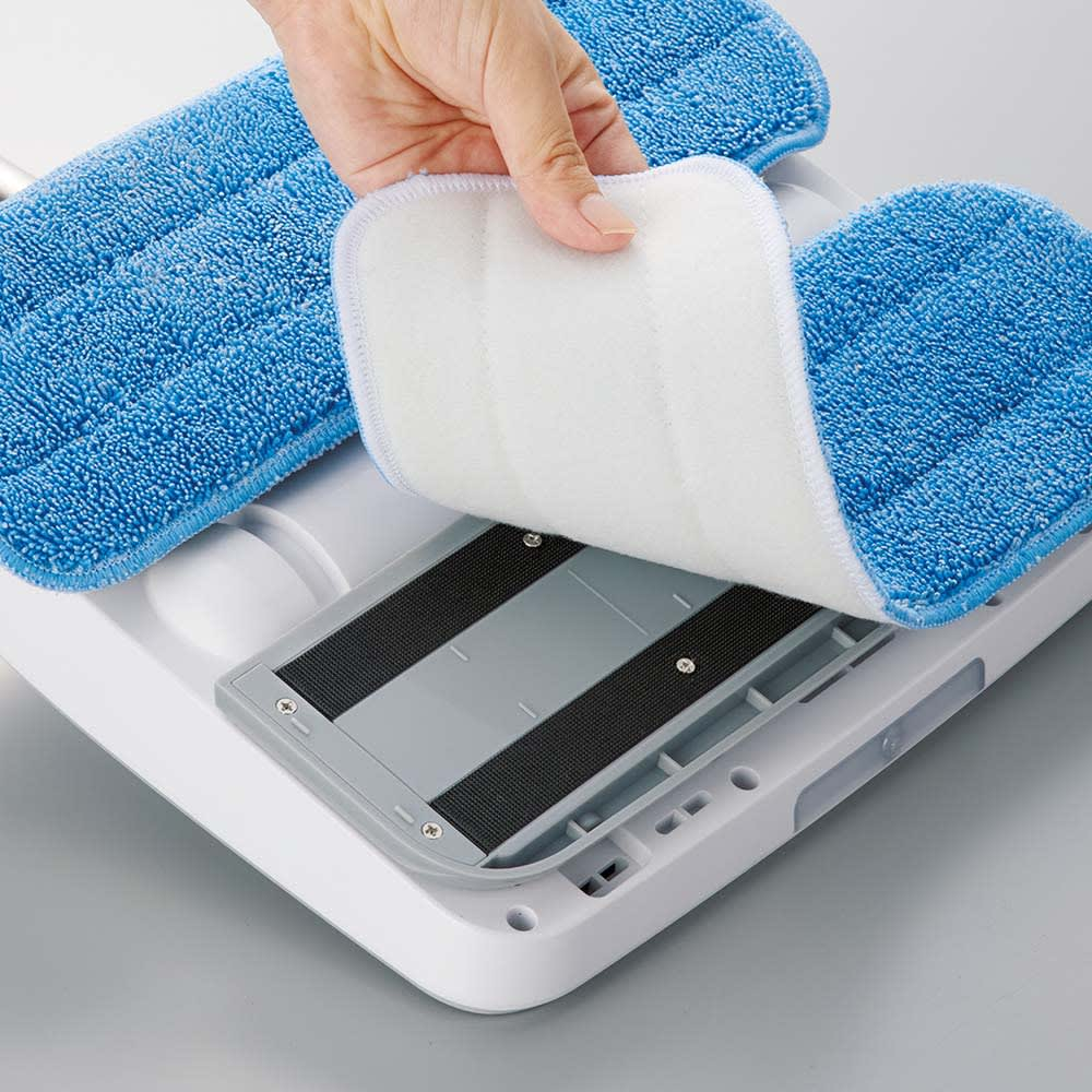 コードレス電動モップ(水スプレー機能付き) 着脱式パッドは丸洗いOK。何度でも使え経済的。