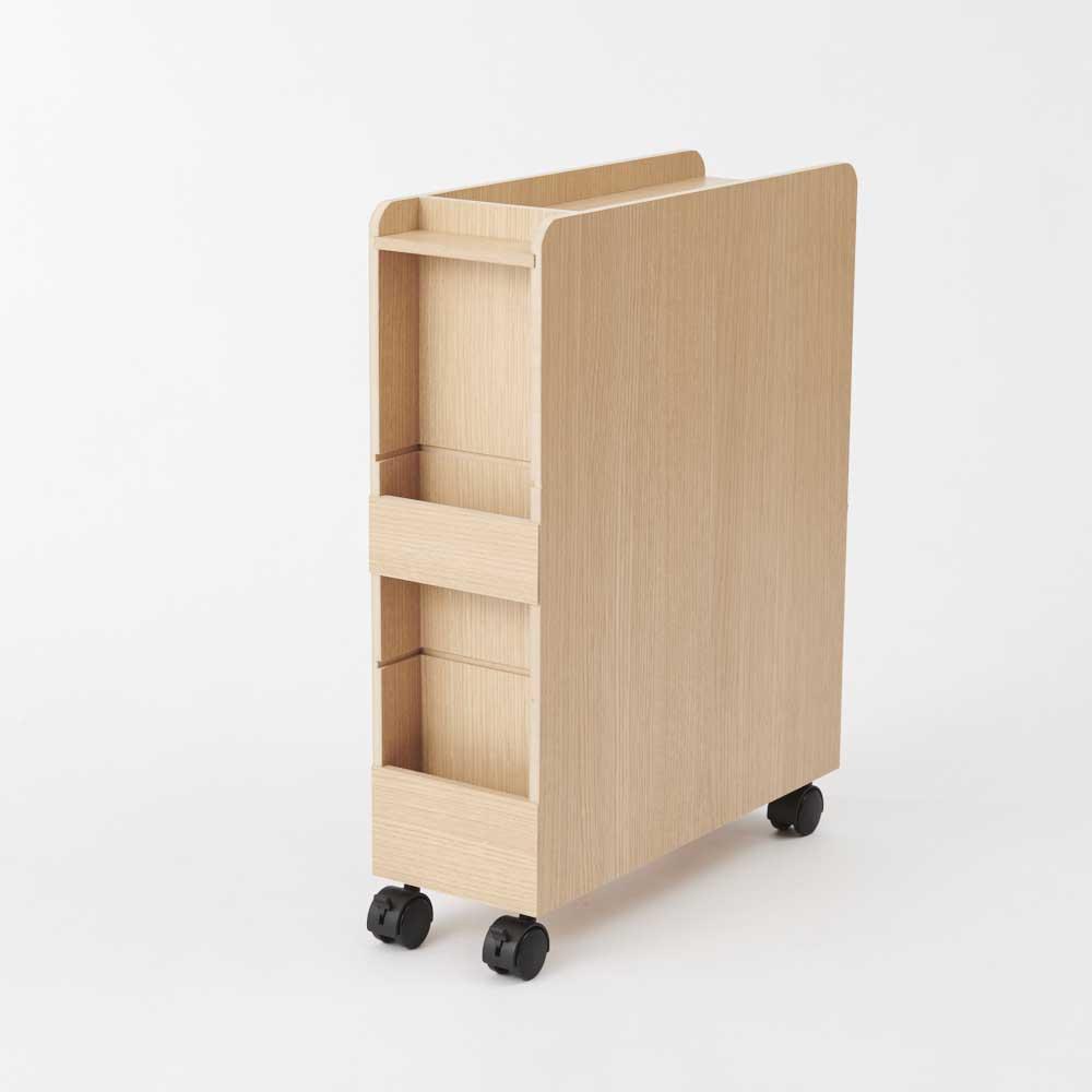 ダイニング下収納ワゴン ナチュラル・背面部。浅い収納スペースを2か所設けました。たまりがちなDM、新聞・雑誌などを収納することも可能。