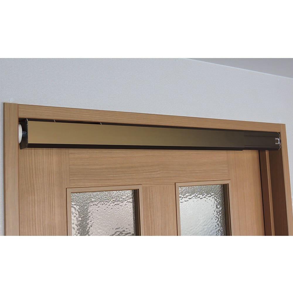 ペット用ドア開閉アイテム「わんにゃんフリーパス」 実際にドアに取り付けた様子。ドア枠に自然になじみます。まるで作り付けのような雰囲気です。