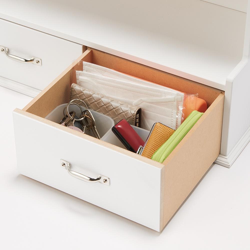 玄関収納ラック 棚2段タイプ 鍵などの実用品は引き出しの中へ。