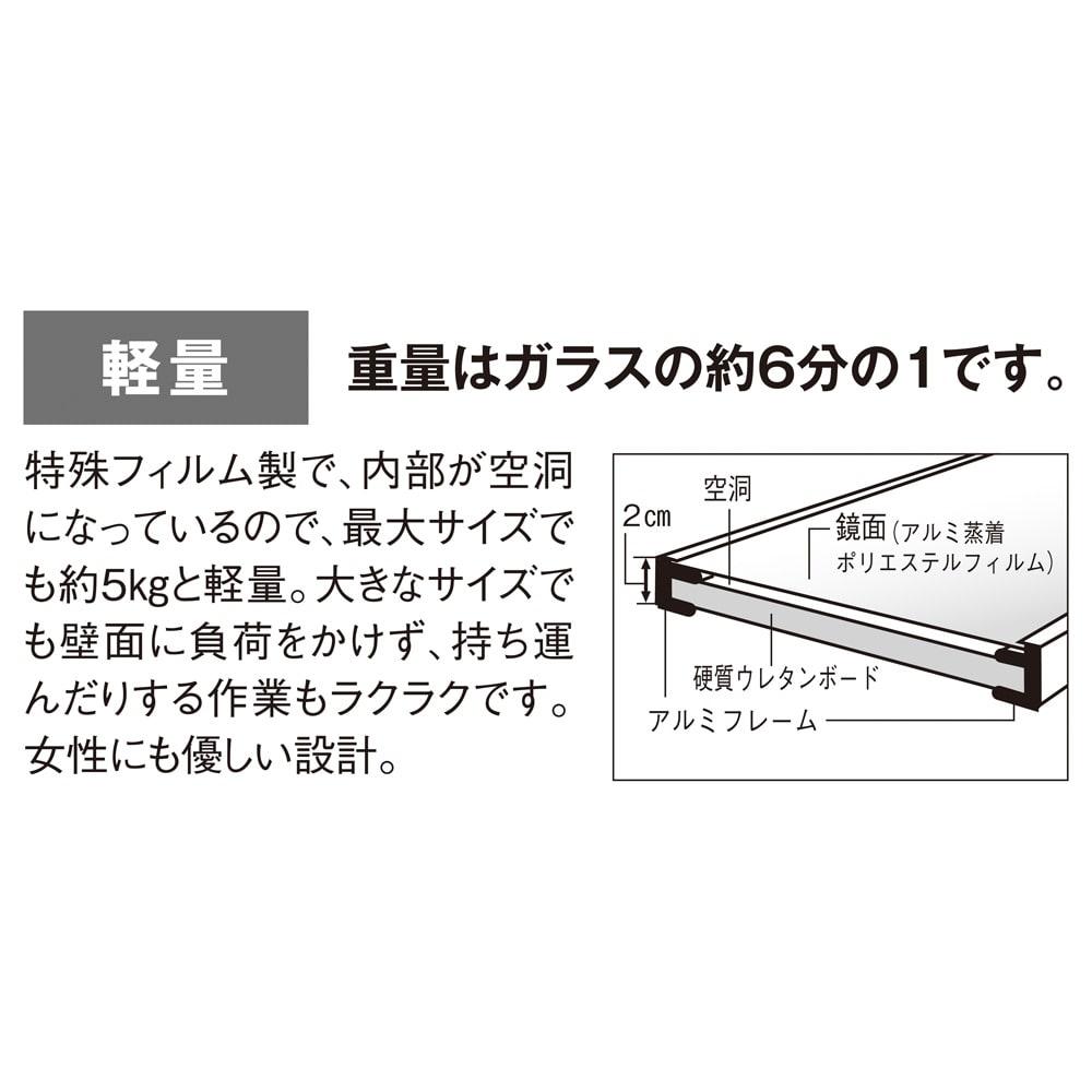【サイズオーダー】割れない軽量フィルムミラー幅52~60cm[細枠フレーム]