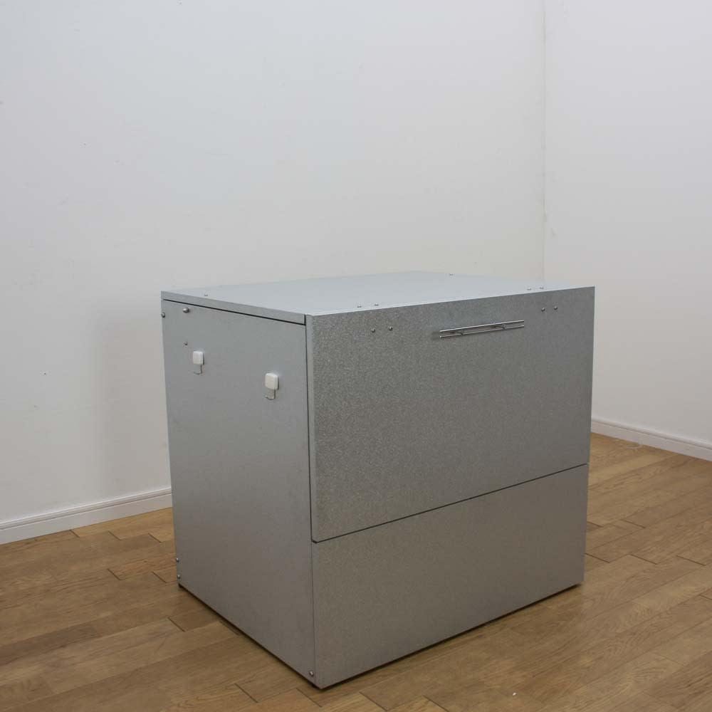 大きく開くガルバ製ゴミ保管庫 幅69奥行55cm