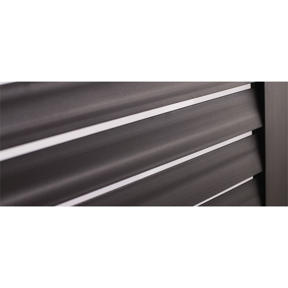 ルーバーストッカー 浅型踏み台タイプ 幅84cm 前面は風通しの良いルーバー式。