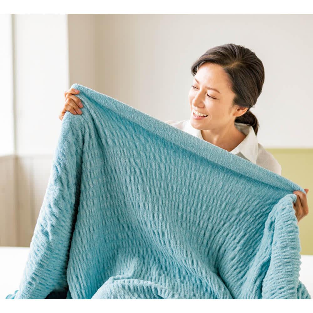 ふわふわ感が長く続く 新・くしゅくしゅ&ふわふわタオル寝具シリーズ タオルケット (エ)ブルーグリーン
