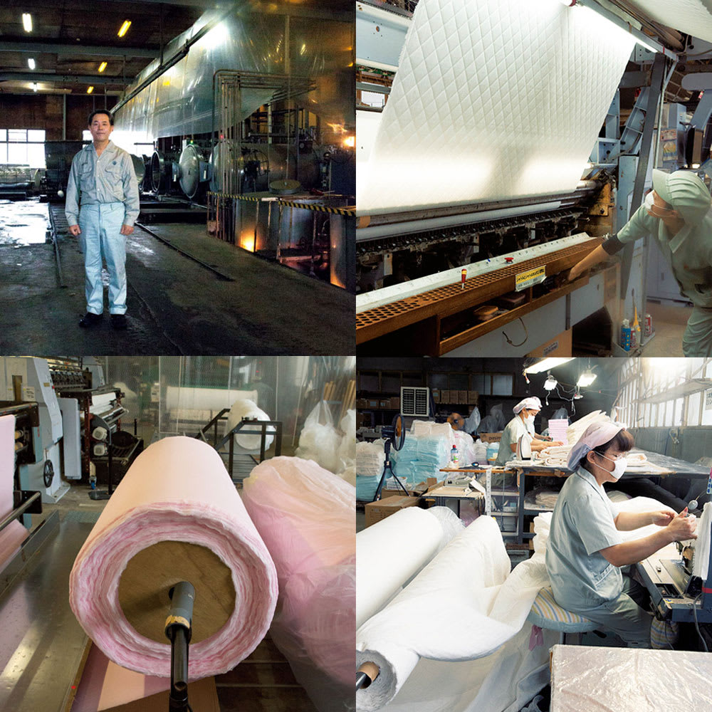 パシーマ(R)EXプラス パッドシーツ 原綿の精錬やほうせいなど、厳しい品質管理のもと自社で一貫生産しています。