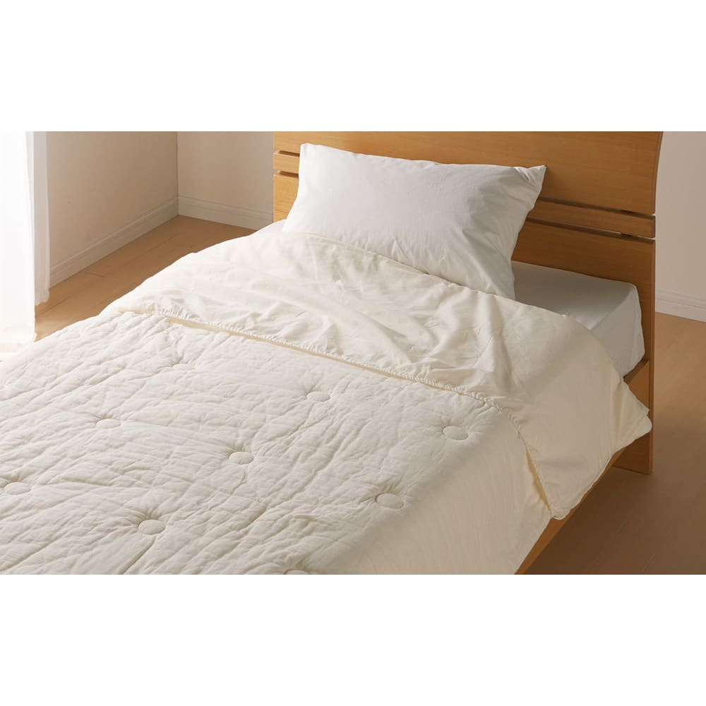 パシーマ(R)でつくったお布団(衿カバ-付き)  簡単&気軽に洗濯できる、同素材で気持ちいい衿カバーをセットでお届けします。