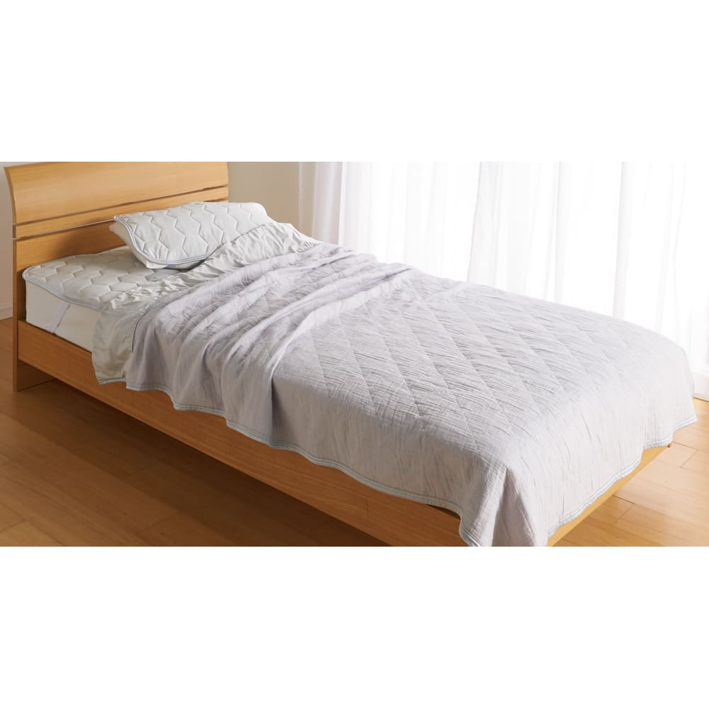 ひんやり除湿寝具 デオアイスネオシリーズ さらさらケット (ウ)グレーはdinos of LIFEカタログ企画色  ※掛け敷きセット使用イメージ。お届けはケット単品です。
