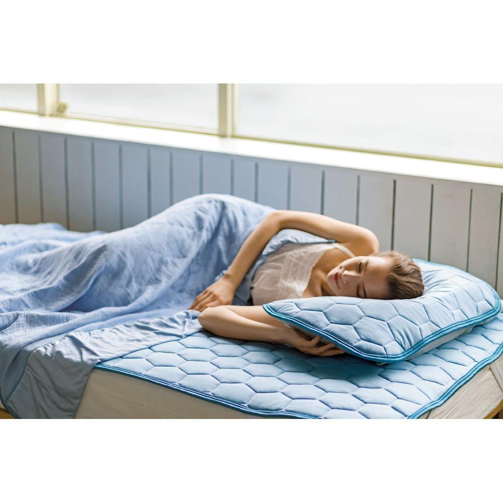 ひんやり除湿寝具 デオアイスネオシリーズ さらさらケット (ア)ブルー ※掛け敷きセット使用イメージ。お届けはケット単品です。