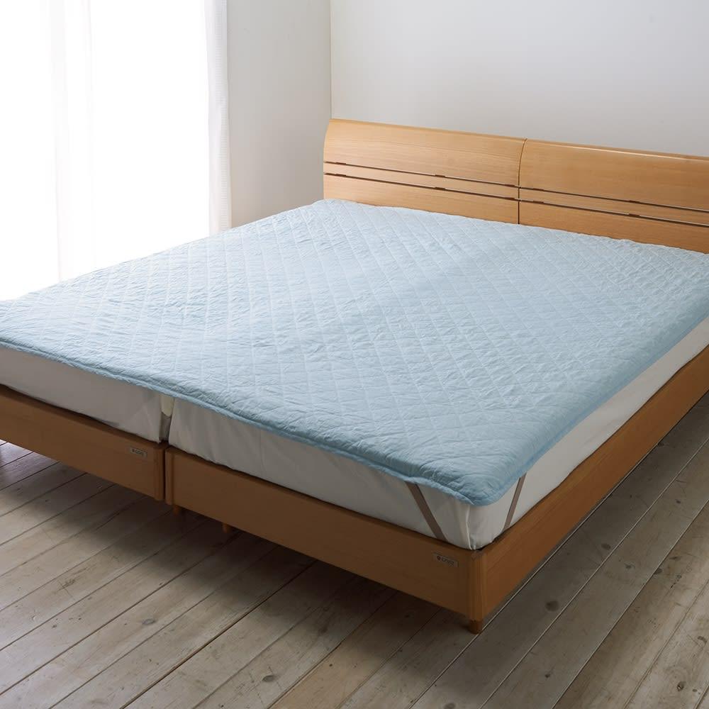 洗える本麻シリーズ 敷きパッド (ア)ブルー ファミリーサイズもあります