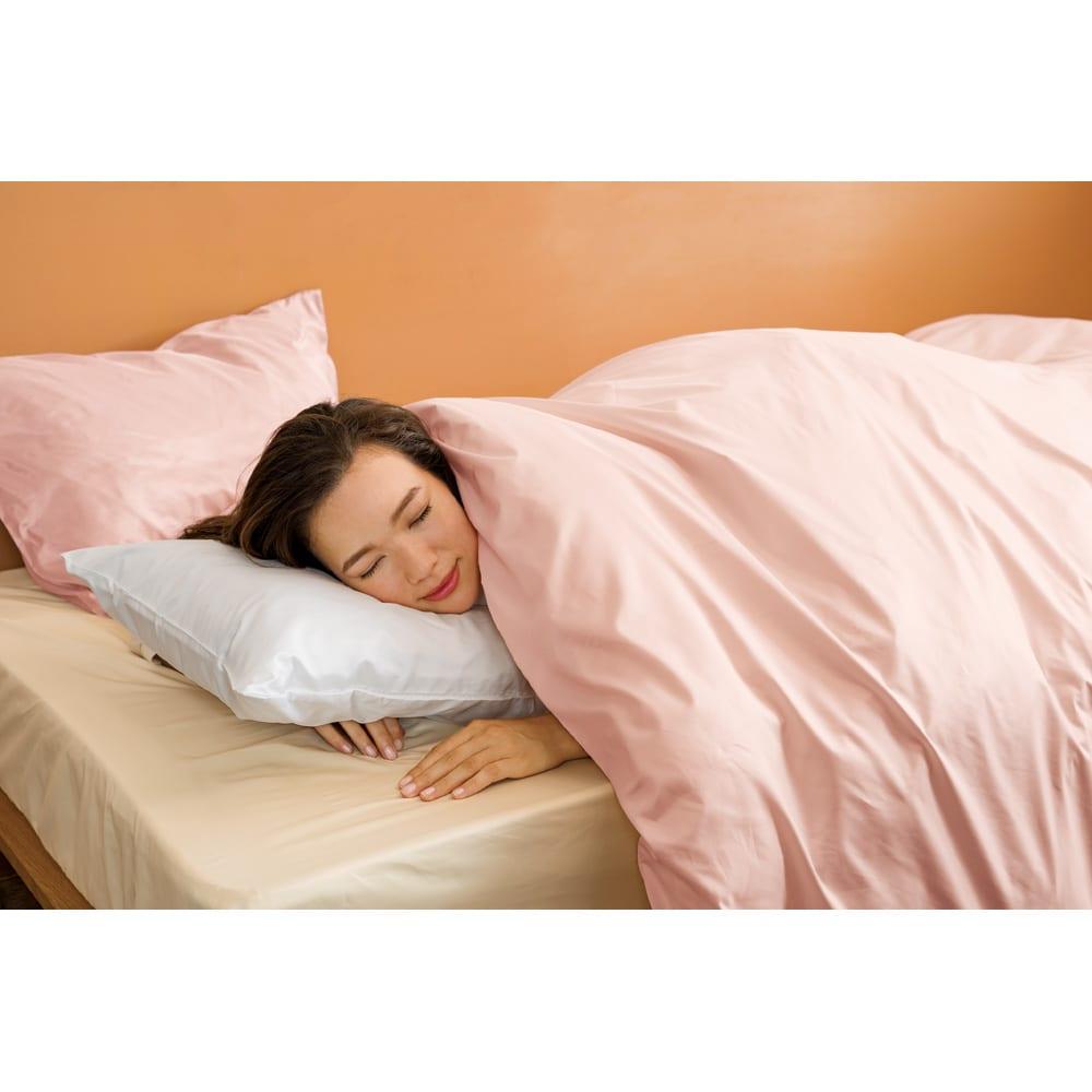ミクロガード(R)プレミアムシーツ&カバーシリーズ 枕カバー(1枚) 上から(ア)ピンク(ウ)ホワイト  ※お届けは枕カバー1枚です。