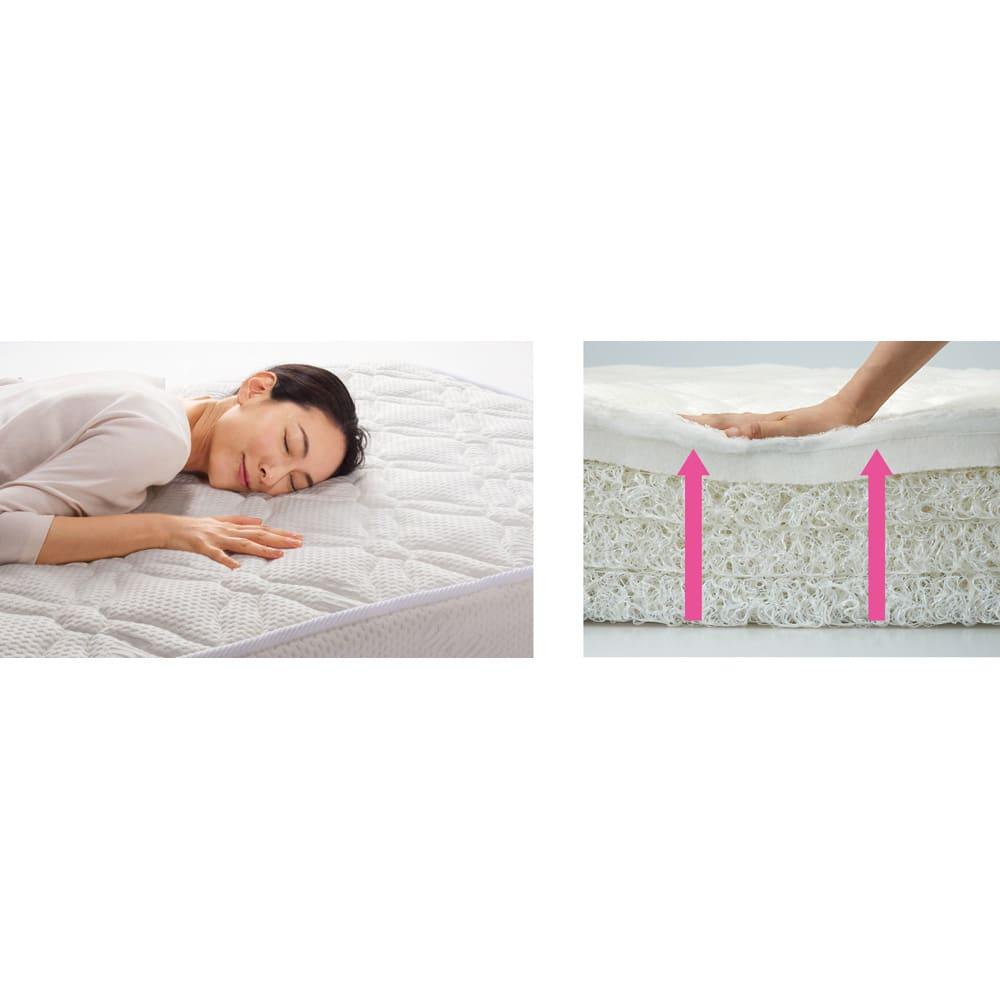 上質な眠りへと誘うブレスエアー(R)リュクス マットレス ファーストタッチの表面のやわらかくなめらかな肌ざわりと、多層だからこそ生まれるとびきりの寝心地を実現。体圧分散性も高く、全身を心地良く支え、寝返りもスムーズ。