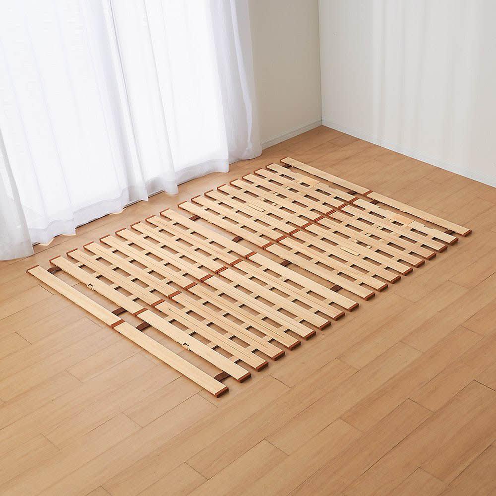 気になる湿気対策に薄型・軽量桐天然木すのこベッド 2つ折りタイプ ファミリー160…セミシングル2枚