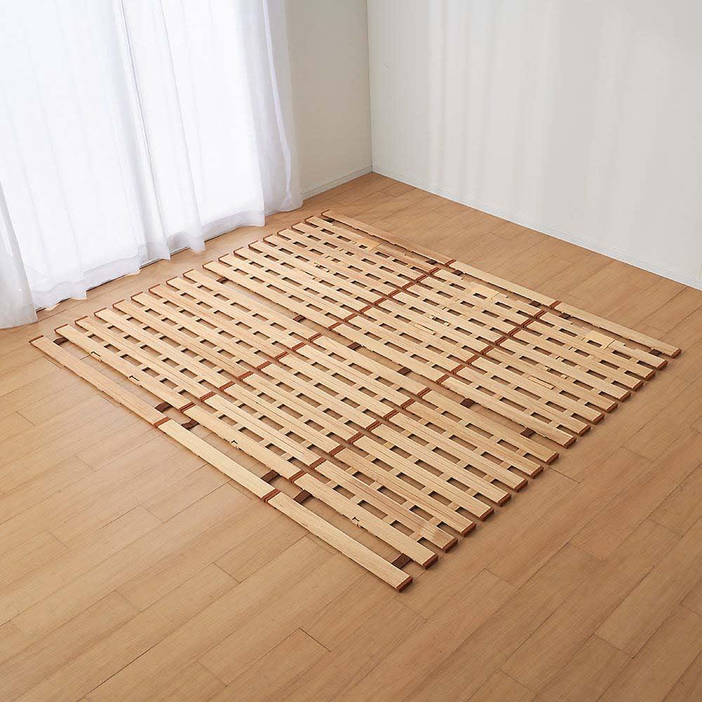 気になる湿気対策に薄型・軽量桐天然木すのこベッド 2つ折りタイプ ファミリー220…シングル1枚・セミダブル2枚