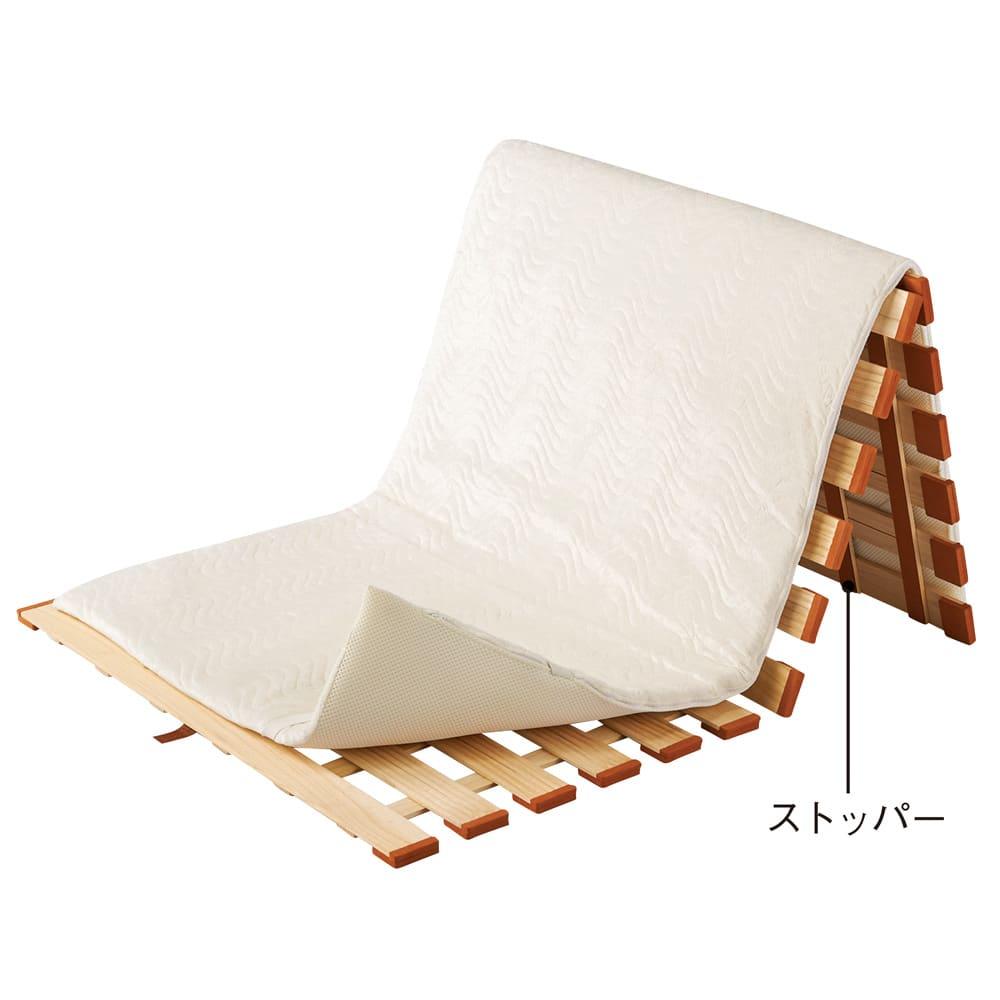 気になる湿気対策に薄型・軽量桐天然木すのこベッド 3つ折りタイプ ※3つ折りはワンタッチ式ではありません。片側を山折した状態で座らないでください。