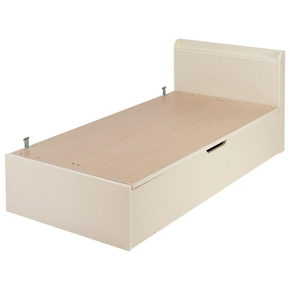 ガス圧横開きベッド(国産ポケットコイルマットレス付き) (ア)ホワイト ※写真はレギュラー・シングルです。