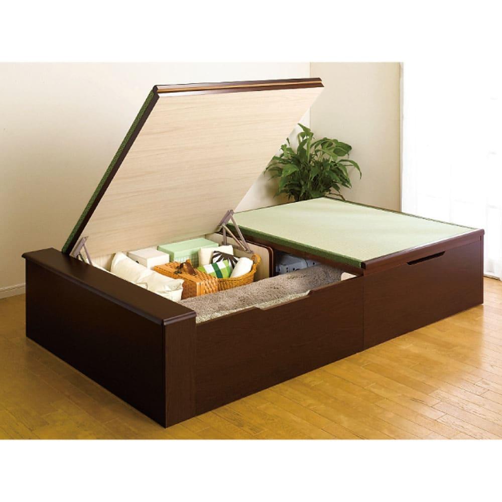 絨毯のような長いモノも収納できる!跳ね上げ式収納畳ベッド ヘッドレスタイプ(高さ41cm) ※写真はセミダブルロングです。