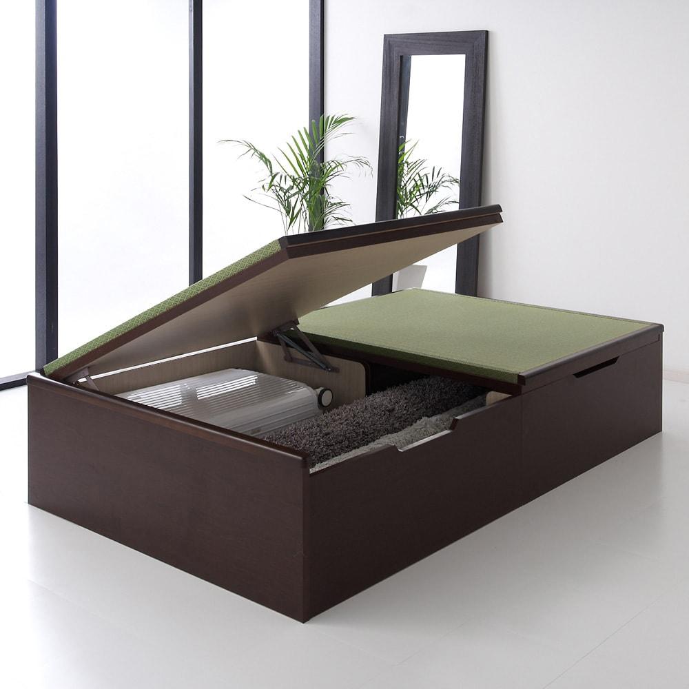 絨毯のような長いモノも収納できる!跳ね上げ式収納畳ベッド ヘッドレスタイプ(高さ41cm) 写真はヘッドレスのセミダブルです。