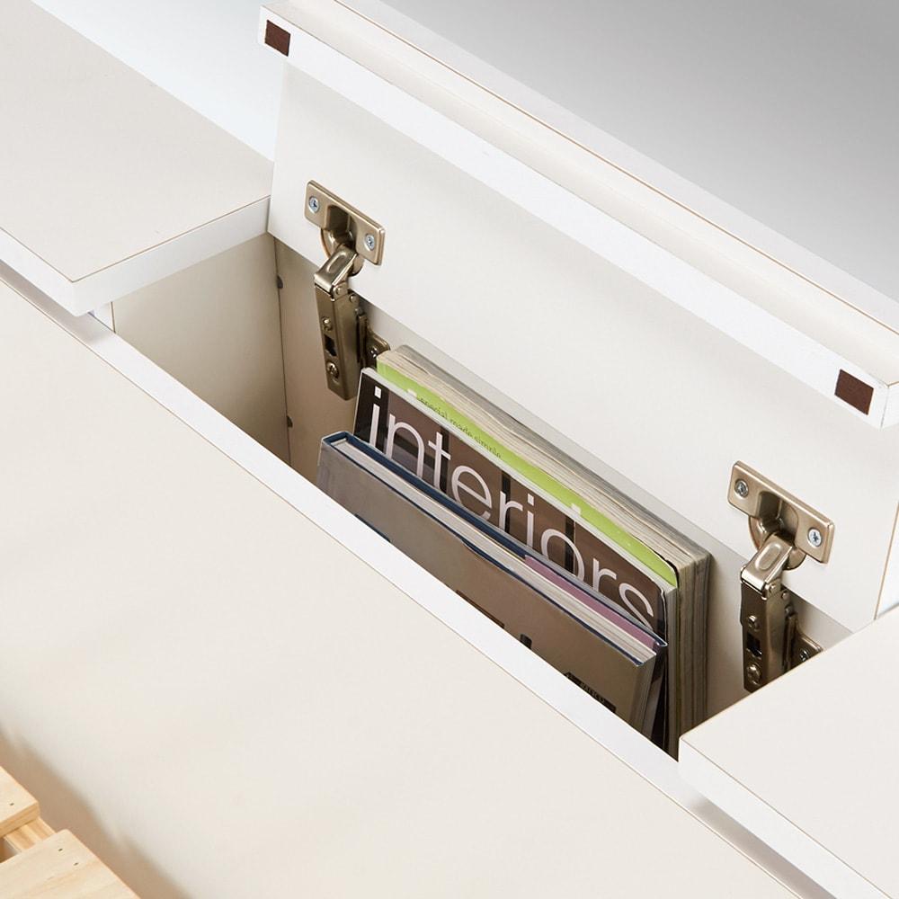 照明付きステージすのこベッド マットレス付き(国産ポケットコイルマットレス付き) ヘッドボードは雑誌等が入る収納庫付き。