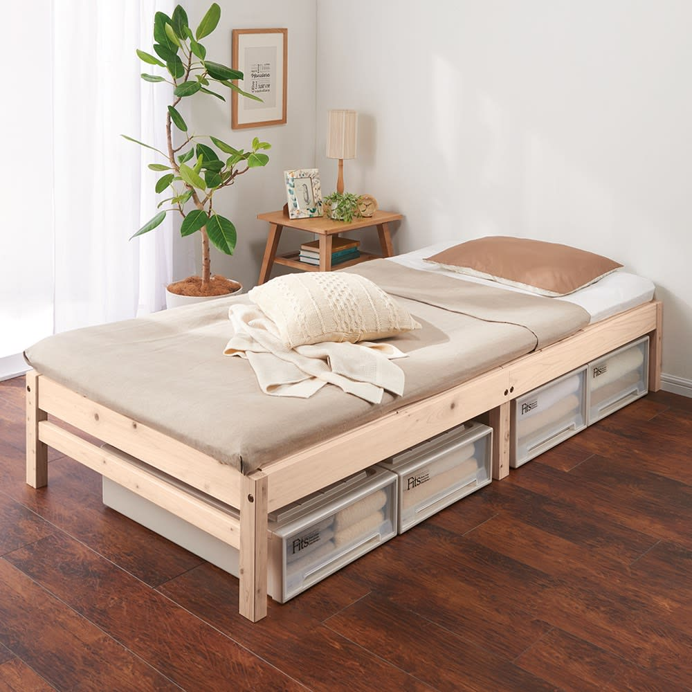 国産ひのき天然木すのこベッド 棚ありお得な2点セット ベッド下が高さ24cmの収納空間になります。 ※写真は棚なしタイプです。