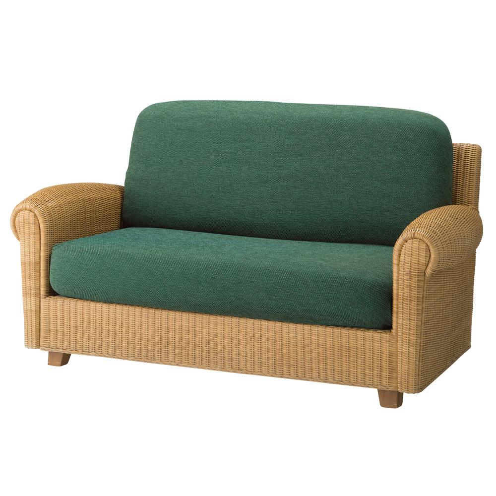 スペイン製はっ水カバー〈サマンサ〉座面・背もたれ兼用カバー(1枚) (オ)グリーン系 ※写真は2人掛け用です。 ※写真は2人掛け用を2枚使用。
